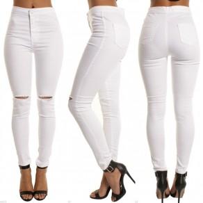 Weiß herausgeschnittene Knöpfe Reißverschluss hohe Taille beiläufige Jeans der Neun