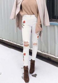 Weißes Blumendruck Cut Out Stickerei Schlank Push Up Beiläufige Jeans mit Löchern Damen