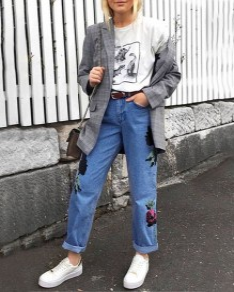 Long jeans broderie fleurie poches fermeture éclairs jambe large décontracté bleu
