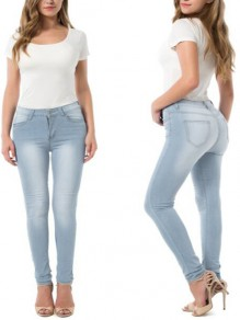 Sky Blue Zipper High Waist Denim Pencil Long skinny Jeans