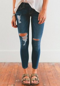 Blue Cut Out Ripped Pockets Zipper Fashion Skinny Pencil Jeans