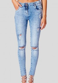 Blue Pockets Zipper High Waisted Ripped Destroyed Skinny Stretchy Long Jeans