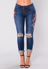 Blue Floral Cut Out Embroidery High Waisted Long Jeans