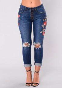 Jeans longue déchiré troué brodée crayon poches culotte haute slim mode bleu