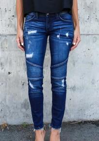 Dunkelblau Taschen Falten Reißverschluss Zerrissene Push Up Jeans Schlank Bleistifthosen Damen Lang