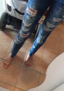 Blau Taschen Destroyed Zerrissene Schlank Beiläufige Jeans Mit Löchern Damen Mode