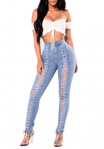 Light Blue High Waisted Slit Lace-up Casual Slim Jeans