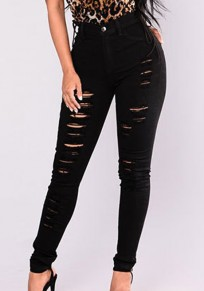 Black Pockets Cut Out Zipper High Waisted Long Jeans