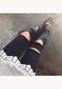Schwarz Ebene Ausgeschnittene Taschen Reißverschluss Mid-Anstieg Lange Jeans