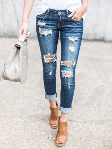 Blue Plain Cut Out Pockets Zipper Mid-rise Long Jeans