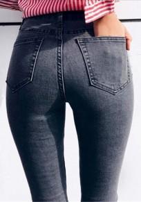 Pantalones vaqueros largos bolsillos botón volar cintura alta moda gris carbón