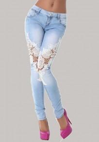 Hellblaue Flickwerk Spitze Ausgeschnitten Taschen Bleistift hohe Taille lange Jeans