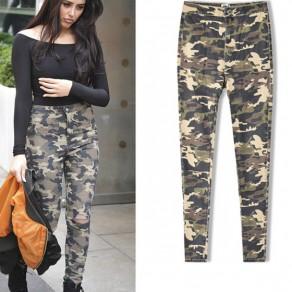 Armee-Grün-Tarnung-Knopf-Ausschnitte Mode lange Jeans