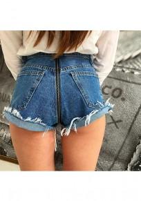 Dark Blue Zipper High Waisted Fashion Short Jeans