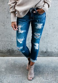 Hellblau Cut Out Taschen Reißverschluss Hohe Taille Ripped Fitness Lange Zerrissene Jeans Röhrenjeans Mode Hose Damen