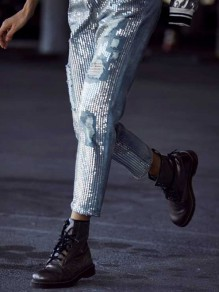 Blue Sequin Tassel Ripped Destroyed Oversize High Waisted Streetwear Long Jeans