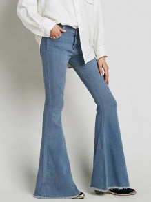Light Blue Pockets Buttons High Waisted Mom Boyfriend Flare Bell Bottom Denim Pants