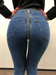 Blue Zipper Pockets High Waist Casual Fashion Booty Skinny Push Up Long Jeans