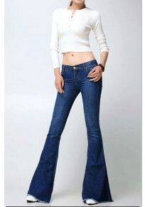 Dark Blue Pockets Buttons High Waisted Mom Flare Long Flare Jeans