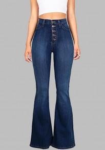 Jeans flare évasée longue avec boutons culotte haute mode vintage slim femme bleu foncé