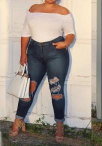 Blau Ausgeschnitten Anstecker Taschen Destroyed plus Größe hoch taillierte Mom Freund lange Jeans