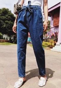 Pantalon carotte en jeans avec noeud ceinture poches mode femme bleu foncé