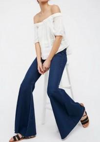 Longue jeans poches boutons pantalons taille haute boyfriend mom décontracté bleu foncé