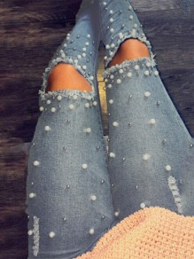 Blue Pockets Pearl Zipper High Waisted Long Jeans