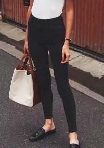 Schwarz Taschen Knöpfen Beiläufige Nine's Jeans Skinny High Waist Push Up Denim Hosen Damen Mode Röhrenjeans