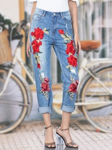 Light Blue Embroidery Zipper Ripped High Waist Long Mom Jeans