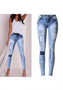 Pantalones vaqueros largos botones de corte con cremallera cintura baja moda azul