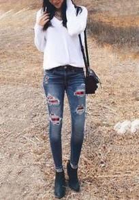 Dunkelblau Kariertes Knöpfen Taschen Cut Out Ripped Hohe Taille Zerrissene Mode Lang Denim Jeans Große Größe Damen