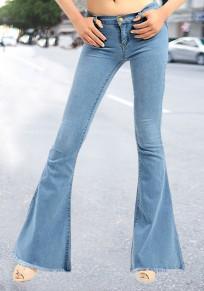 Jeans botones bolsillos borla novio cintura alta larga llamarada azul claro