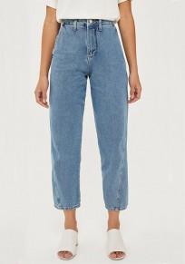 Blaue Knöpfe Taschen Reißverschluss Hohe Taille Mom Freund Beiläufig Neun Jeans