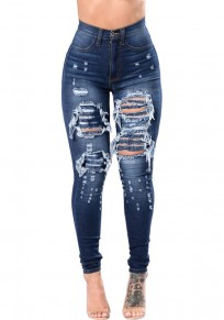 Dark Blue Irregular Ripped Button High Waisted Fashion Jeans