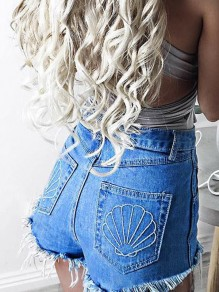 Blue Pockets Buttons Tassel Embroidery Zipper Fashion Short Jeans