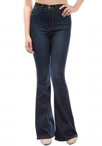 Pantalones vaqueros largos botones bolsillos pantalones acampanados vendimia cintura alta casuales azul oscuro