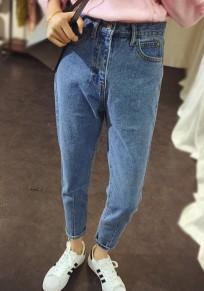 Hellblau Taschen Knöpfen High Waisted Boyfriend Jeans Beiläufige Damen Nine's Hose Mode