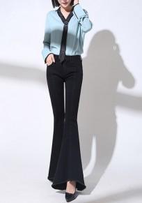 Schwarze Flickwerk Taschen unregelmäßige Reißverschluss Mode lange Jeans
