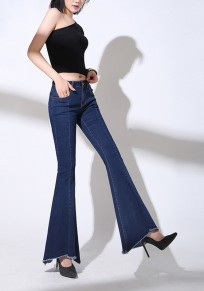 Dark Blue Patchwork Pockets Irregular Zipper Fashion Long Bell Bottom Jeans