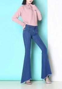 Hellblaue Flickwerk Taschen unregelmäßige Reißverschluss Mode lange Jeans