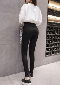 Schwarze Knöpfe Taschen Skinny Hoch tailliert Beiläufig Freund Lange Jeans