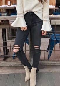 Schwarz Taschen Zerrissene Reißverschluss Hohe Taille Nine's Skinny Röhrenjeans Damen Hosen