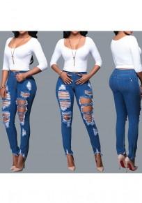 Longue jeans boutons poches découpesss fermeture éclair décontracté moulant bleu