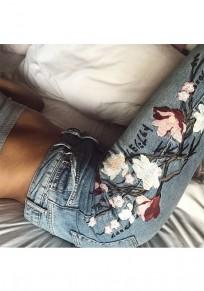 Blaue Flickwerk Stickerei Knopf-Taschen zufällige lange Jeans