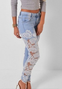 White Patchwork Cut Out Lace Pockets Casual Long Jeans