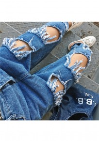 Blue Buttons Cut Out Tassel Zipper Fashion Nine's Jeans
