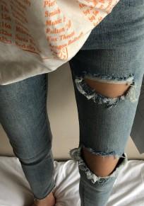 Hellblaue Cut Out Taschen Destroyed Ripped Zerrissen Skinny Neun Hosen Jeans Röhrenjeans Mode Hose Damen