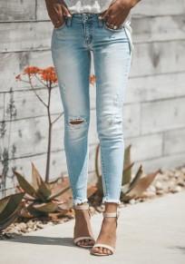 Hellblaue Taschen Hohe Taille Ripped Fitness Lange Zerrissene Jeans Röhrenjeans Mode Hose Damen