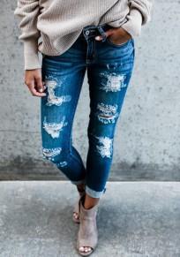 Jeans longue crayon déchiré avec poches slim mode femme denim pantalons bleu foncé